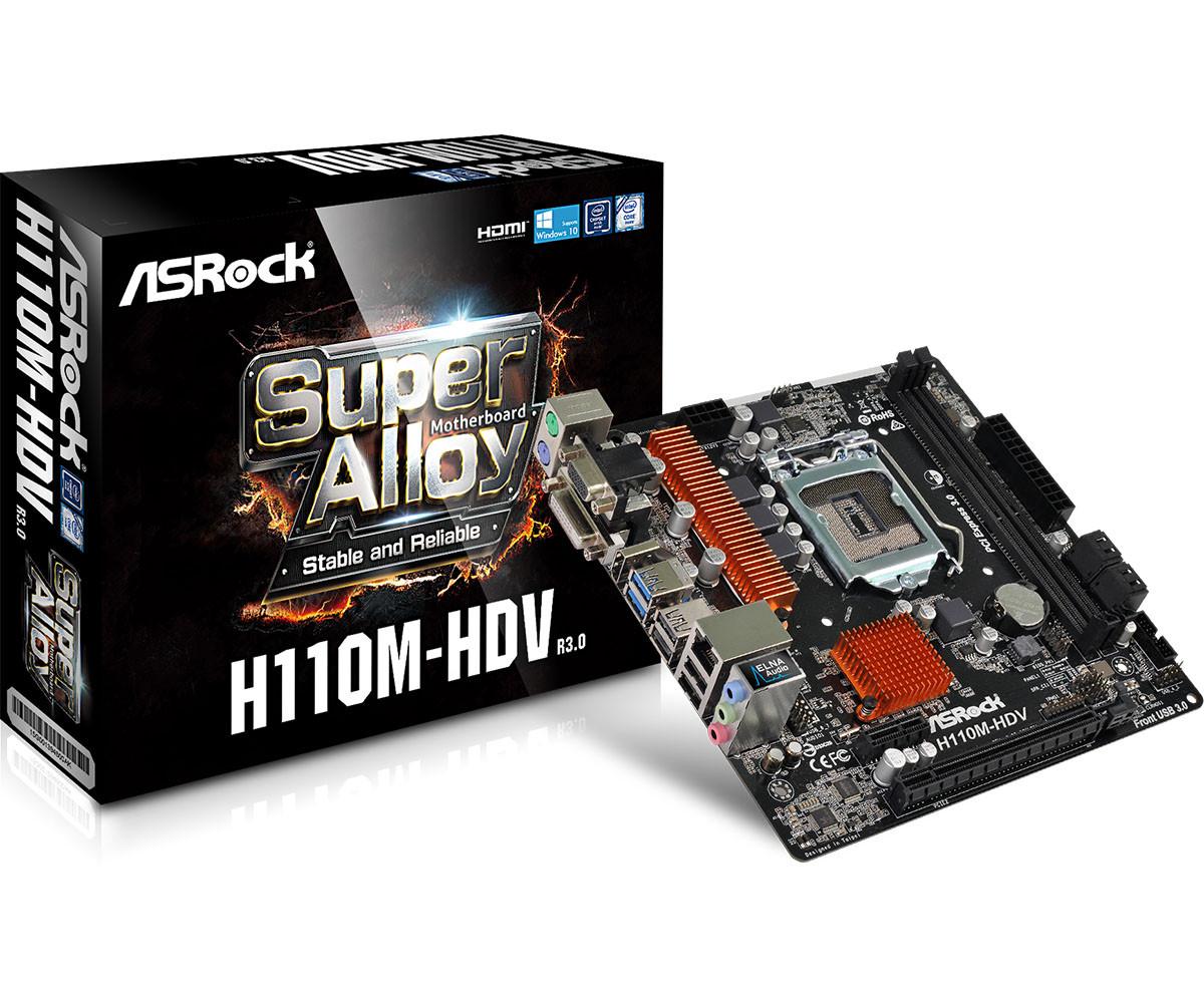 "Материнская плата ASRock H110M-DVS R3.0 s.1151 DDR4 ""Over-Stock"" Б/У"