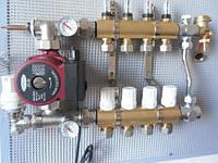 Коллектор в сборе для теплого пола APC на 9 выходов с расходомерами