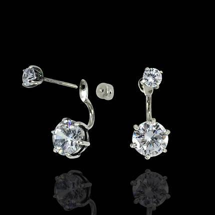 Серебряные серьги-пуссеты 2-в-1 с фианитами, фото 2