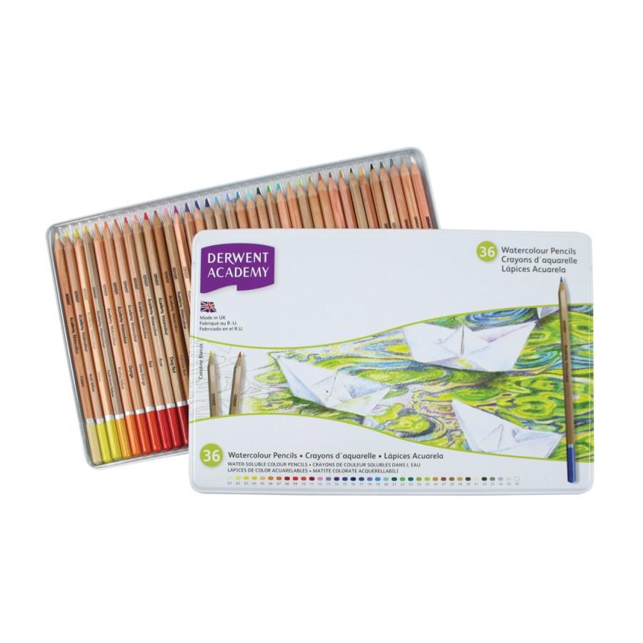 Набор акварельных карандашей, 36 цветов, металлический пенал, Academy Watercolour, Derwent, 2300226