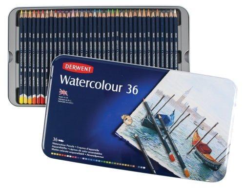 Набор акварельных карандашей, 36 цветов, металлический пенал, Watercolour, Derwent, 32885