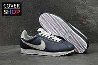 Кроссовки женские Nike Cortez, темно-синие с белым, материал - кожа