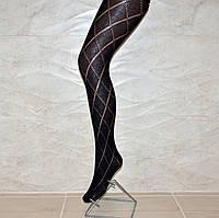 Женские черные ажурные колготы, хлопок, Италия, размер 4