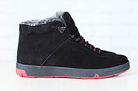 Мужские спортивные зимние ботинки, на меху, замшевые, на шнурках, черные Код: 2824
