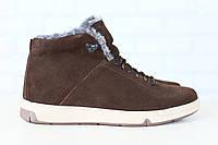 Мужские спортивные зимние ботинки, на меху, замшевые, на шнурках, коричневые Код: 2824-1