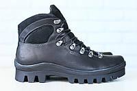 Мужские спортивные зимние ботинки, на меху, кожаные, черные Код: 2825