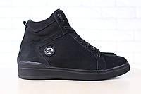 Мужские спортивные зимние ботинки, на меху, из натурального нубука, черные Код: 2845