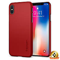 Чехол Spigen для iPhone X Thin Fit, Metallic Red, фото 1
