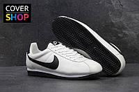 Кроссовки мужские Nike Cortez, белые с черным, материал - кожа, подошва - пенка