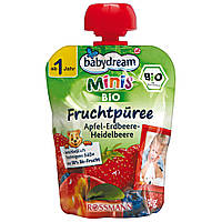 Babydream Minis Фруктовое пюре: яблоко-клубника-черника 90 г, от 1 года
