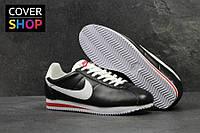 Кроссовки мужские Nike Cortez, черные с белым, материал - кожа, подошва - пенка
