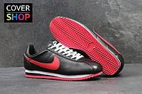 Кроссовки мужские Nike Cortez, черные с красным, материал - кожа, подошва - пенка