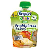 Babydream Minis Фруктовое пюре:груша-банан-морковь-манго и овощи 90 г, от 1 года