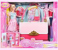 """Кукла типа """"Барби""""Anlily""""99046 (16шт/2) сумка превращается в шкаф д/одежды, платья,аксессуары,в кор."""