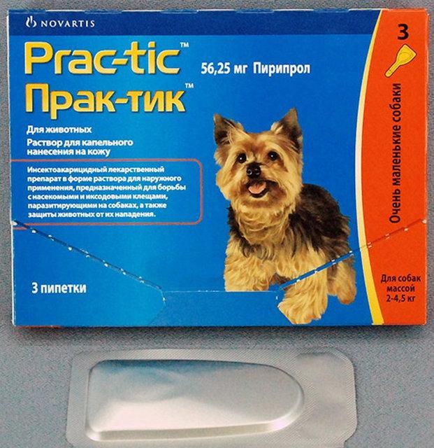 Prac-tic (Прак-тик) капли для собак весом от 2 до 4,5 кг (1пипетка)