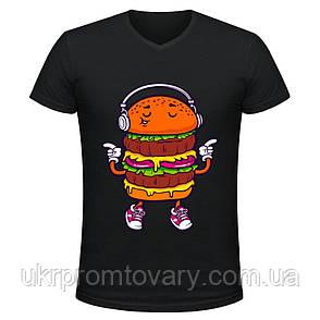 Футболка мужская V-вырезом - Бургер с плеером, отличный подарок купить со скидкой, недорого, фото 2