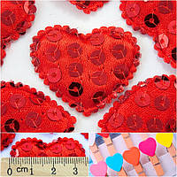 (10шт) Тканевый декор   Сердце-подушечка пайетки  Размер 3,5 х 3 см.