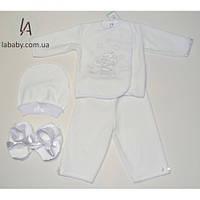 Прелестный велюровый костюм для крещения для новорожденных (62р)