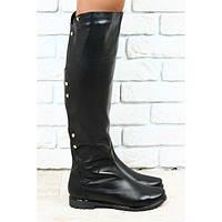Сапоги черные кожаные евро зима без каблука с металлическими кнопками,  низкий ход