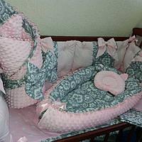 Бортики + кокон + конверт-плед + постельное + ортопедическая подушка
