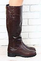 Сапоги зимние, коричневые, кожаные, без каблука, евро зима