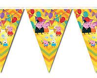 Гирлянды бумажные флажки Свинка Пеппа 2 метра