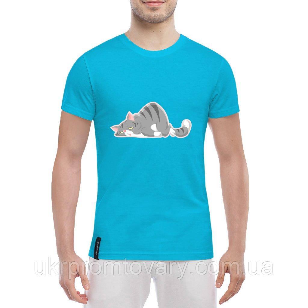 Мужская футболка - Уставший котик, отличный подарок купить со скидкой, недорого