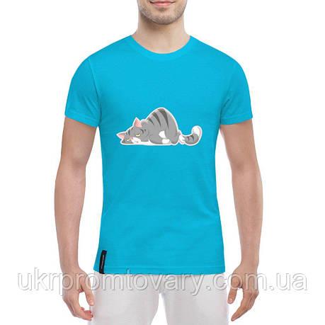 Мужская футболка - Уставший котик, отличный подарок купить со скидкой, недорого, фото 2