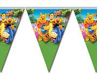 Гирлянды бумажные флажки Винни Пух 2 метра