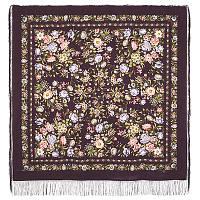 Цветущая весна 1562-8, павлопосадский платок (шаль, крепдешин) шелковый с шелковой бахромой   Первый сорт    СКИДКА!!!