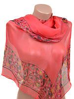 Легкий шарф палантин розовый