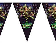 Гирлянды бумажные флажки Черепашки Ниндзя 2 метра