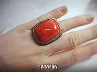 Женское кольцо модное стильное ретро винтаж бирюза