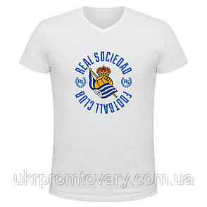 Футболка мужская V-вырезом - eal sociedad football club, отличный подарок купить со скидкой, недорого, фото 2