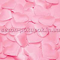(100шт) Тканевый Декор Сердце маленькое 2,2х1,8см  Цена за 100 шт. Цвет - розовый