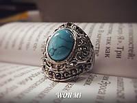 Женское кольцо модное стильное ретро винтаж серебро камень бирюза