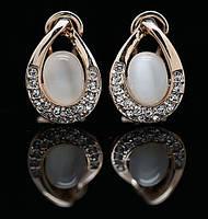 Сережки ЛАНА ювелірна біжутерія золото 18к 750 проба кристали Swarovski