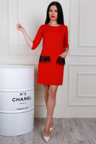 1824acc13f7 Яркое красное платье с черными перьями на карманах - Оптово-розничный  интернет-магазин