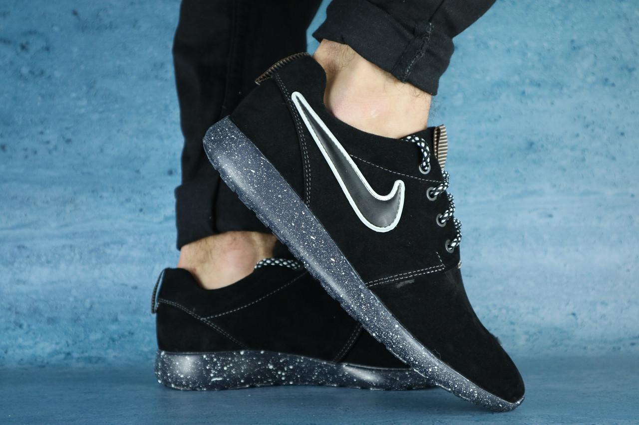 Мужские кроссовки Nike Roshe Ran (черные), ТОП-реплика