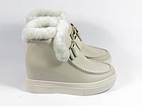 Бежевые зимние ботиночки на танкетке, фото 1