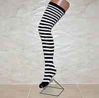 Хлопковые женские  гетры выше колена в черно-белую полоску, 50 см