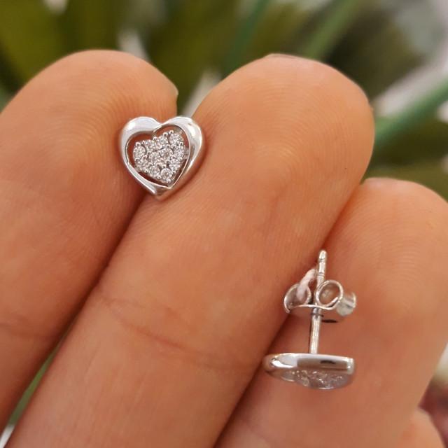 Золотые серьги в виде сердца - Серьги сердечки белое золото фото 1