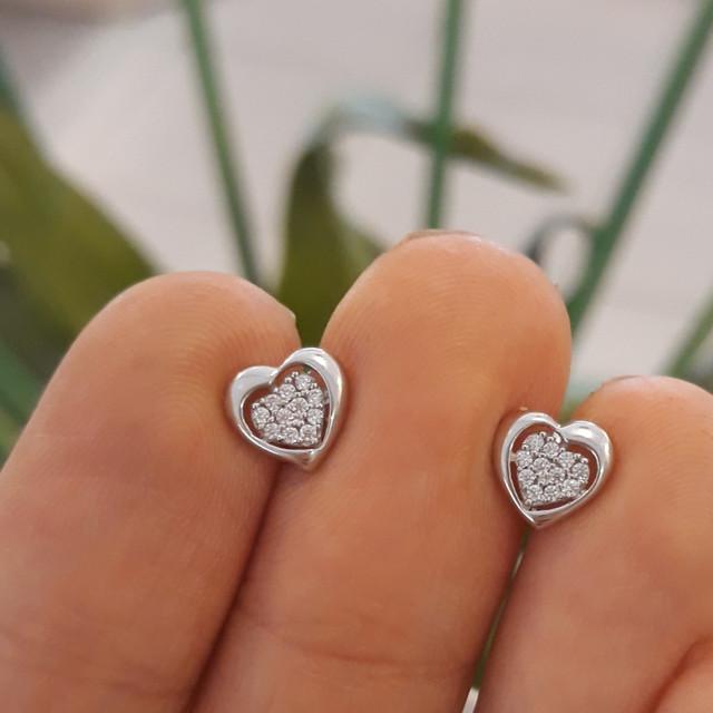 Золотые серьги в виде сердца - Серьги сердечки белое золото фото 2