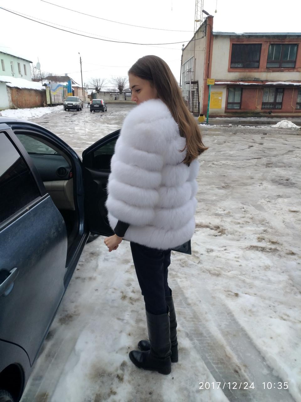 Женская шуба из финского песца альбинос автоледи рукавчик 3/4 (284)