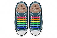 Силиконовые антишнурки AntiLaces Stars Радуга 56,5мм //