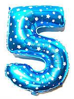 Фольгированная цифра 5 голубая высота 65 см