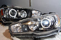 "Mitsubishi Lancer X - установка биксеноновых линз Moonlight SUPER G5 2,5"" дюйма и ""ангельских глазок"" LED , фото 1"