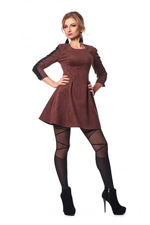Стильное платье мини облегающего кроя из замша., фото 2