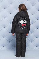 """Куртка+штаны для девочки """"Кот"""" черный"""