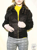 Женская демисезонная коричневая куртка с мехом р. М